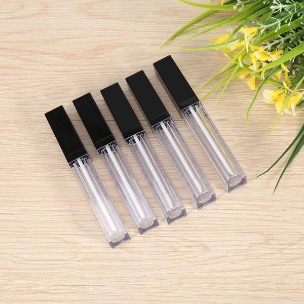 500 unids / lote 5 ml Brillo de labios Contenedores de caja de plástico Vacío Claro Lipgloss Tubo Delineador de ojos Contenedor de pestañas Mini Brillo de labios Dividir botella