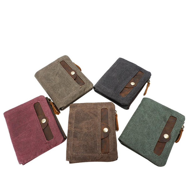 Hand Make Man Canvas Bag Fashion Rose Red/Dark Gray/Coffee/Coral Green/Khaki Woman Wallet Multi-card position Money Clips