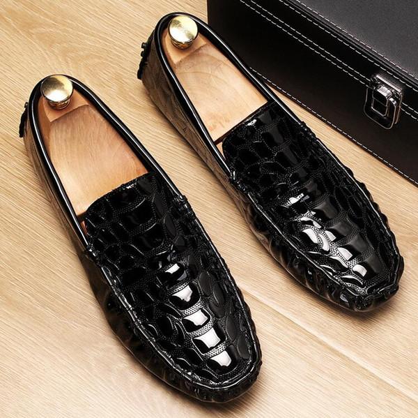 Acheter Luxe Or Hommes Mocassins Chaussures Mode Avant Glissement Sur Argent Mocassin Chaussures Homme Noir Loisirs Tendance Alligator Motif 1NX61 De
