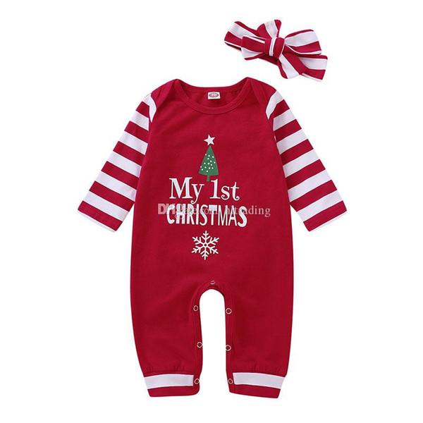 Weihnachten Baby Mädchen Jungen gestreiften Strampler Säugling Brief drucken Overalls mit Stirnband Herbst Weihnachten Boutique Kinder Klettern Kleidung C5452