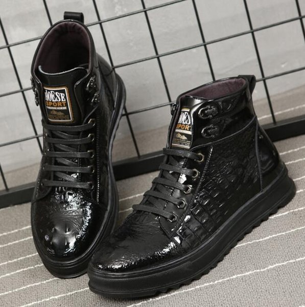 2019 Spring And Autumn Mens Crocodile Leather Casual Men High Help Shoes Fashion Lace Up Boots For Males ih42