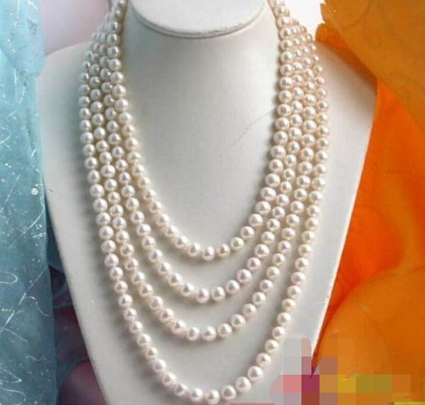"LONG 100"" 8-9MM ROUND WHITE FW CULTURED PEARL NECKLACE"
