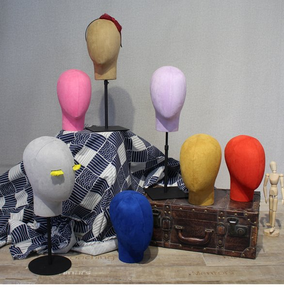 High-end Mannequin head Wrapped in cloth male female model head showing stand Window display prop coat hanger