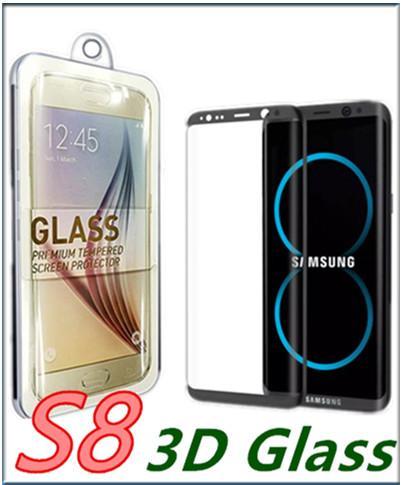 Para S8 S9 S9 Plus S8plus Note 8 Cristal curvo de cubierta completa S6 S7 Edge 3D Protector de pantalla curvo vidrio templado Con caja al por menor MQ100