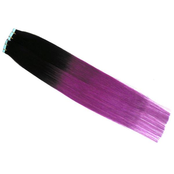 T1B / Roxo Cabelo Brasileiro Aplicar Fita Adesiva Pele Trama Do Cabelo 100 g 40 pçs / lote Extensão Bande Pele Adesiva Trama Ombre cabelo