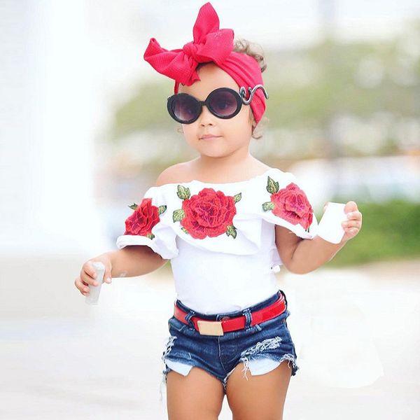 New Summer Baby Kids Girls Clothes Cotton 3D Flower Print Sleeveless Ruffle Round Neck Pullover T-Shirts Denim Hole Short Pants 2pcs Set
