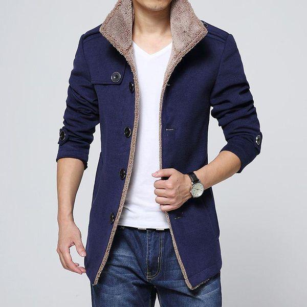 2017 NUOVI uomini di cappotto di marca di modo di inverno solido Solido Medio Giacche e cappotti Mens caldo soprabito M-3XL 4XL