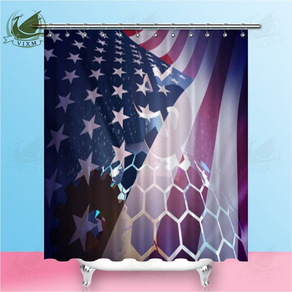 Vixm American Flag American Style Shower Room Curtain Polyester Fabric Waterproof Mildew Shower Curtain Home Thickening Decorative Curtain