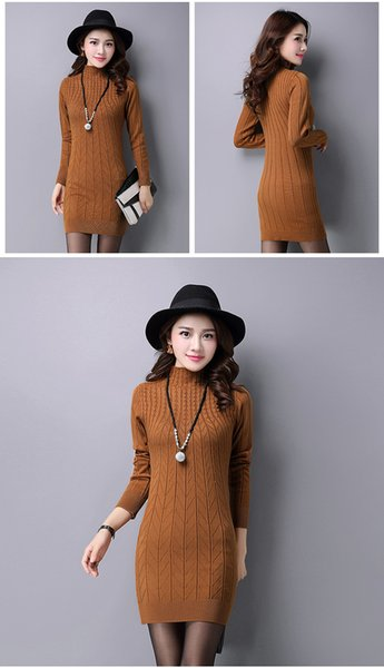 2019 New Korean Autumn Winter Semi High Necked Sweater Long Sleeved Sleeve Bottoming Dress Knitted Sweater Mid-long Skirt A0074