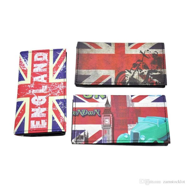 HoneyPuff English Flag Design PU Leather Tobacco Pouch with 78MM /70MM Paper Holder Portable Pocket Size Tobacco Box Cigarettte