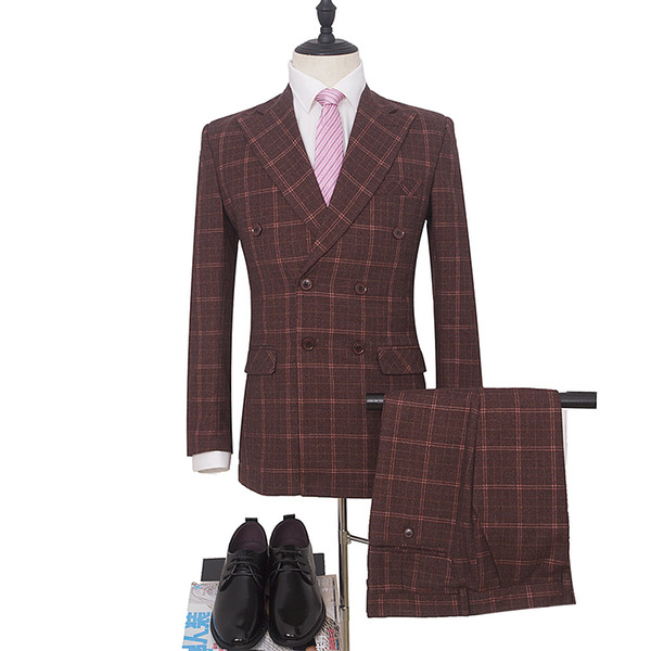 Wine Red Business Trim Fit Peaked Collar Elegant Men Suits Wedding Groom Tuxedos Double Breasted 3 Pieces (Jacket+Pants+Vest) Suits