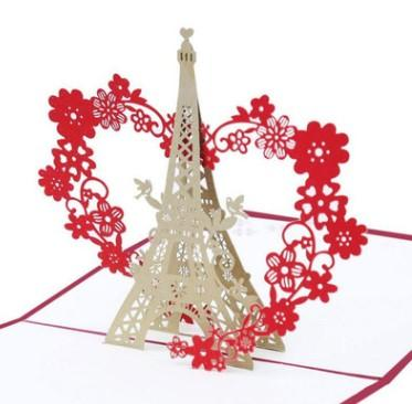 Factory Direct Tower and Flower 3D 3D cards Japan and South Korea Creative Birthday Cards Paper Personality Gift