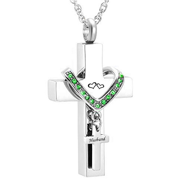 Fashion jewelry Stainless Steel Cross husbnad Memorial Cremation Ashes Urn Pendant Necklace Keepsake Jewelry for ashes