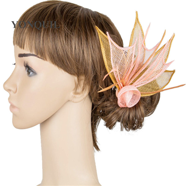 21 Colors leaf design small fascinators cute girl hats party occasion wedding with feather hair fascinators on hair clips MYQ021