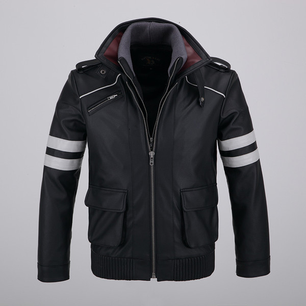 Game Prototype Alex Mercer Cosplay Leather Jackets Mens Detachable Double-layer Collar Outwear Zip up Coat Embroidery Pattern