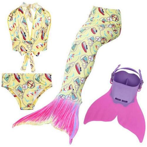 5 Style Kid Girls Swimmable Mermaid Tail with Monofin for Swimming Swimmable Children Mermaid Tails for Girl Child Kids Costume