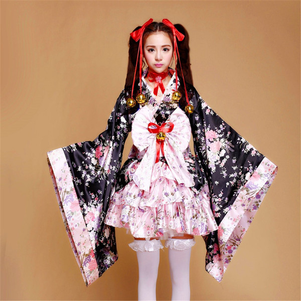 Shanghai Story Cute Lolita Flower Kimono Uniform Meidofuku Maid Dress Outfit Cosplay Costumes Set for Women and girls