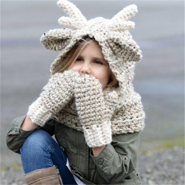 Kids Winter Wool Hat Elk Hoode Hat Scarf Gloves 3 in 1 Set Baby Warm Knitting Caps Christmas Gift Elk Crocket for Boys Girls Accessories Hot
