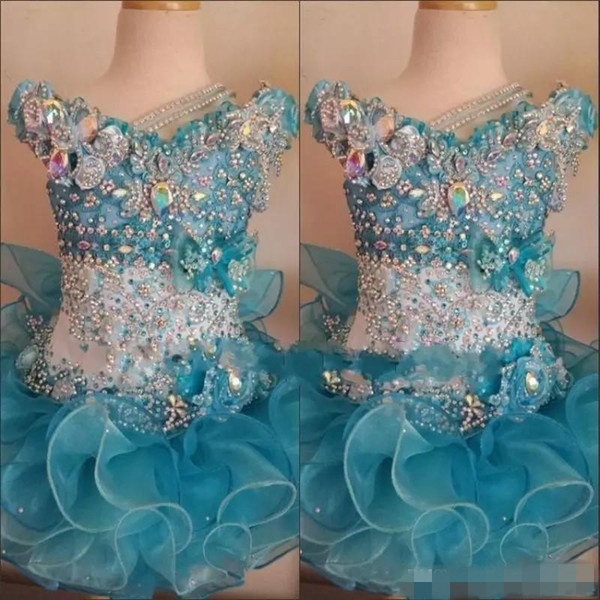 Toddler Baby Pageant Dresses for Little Girls Baby Beaded Organza Cute Kids Short Prom Gowns Infant Ocean Blue Crystal Birthday Party Skirt