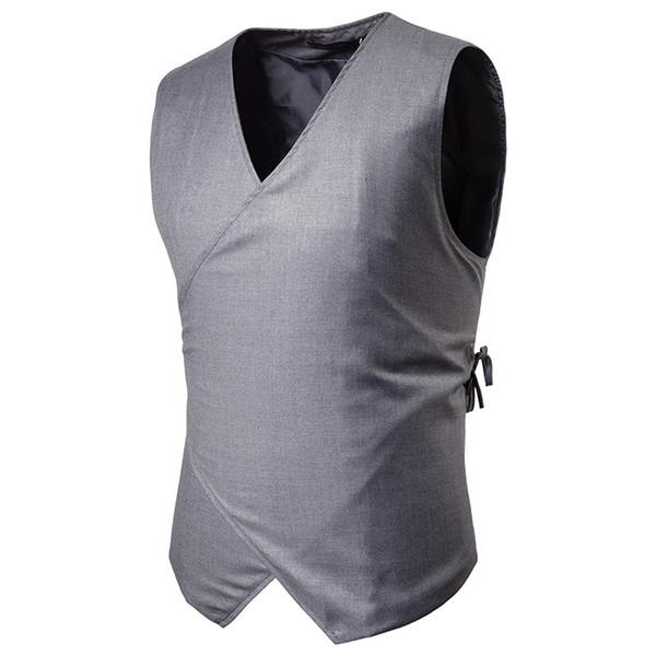 New Arrivals Men's casual suit vest Simple design style feature string button fashion vest men handsome standard Asia size M-XXL