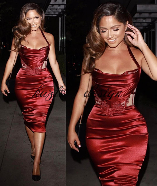 2018 Stylish Tea Length Women Formal Cocktail Dresses Burgundy Slik Like Satin Halter Silm Corset Kim Kardashia Party Dress Gown