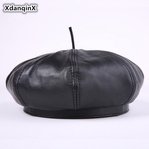 b322474eb1c XdanqinX Women s EleTrend Leather Hat Warm Winter Sheepskin Leather Berets  For Adult Ladies 2018 New Style Female Brand Cap
