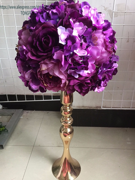 Düğün yol kurşun yapay gül şakayık çiçek topu düğün masa centerpiece çiçek topu 30 cm mor 10 adet / grup TONGFENG