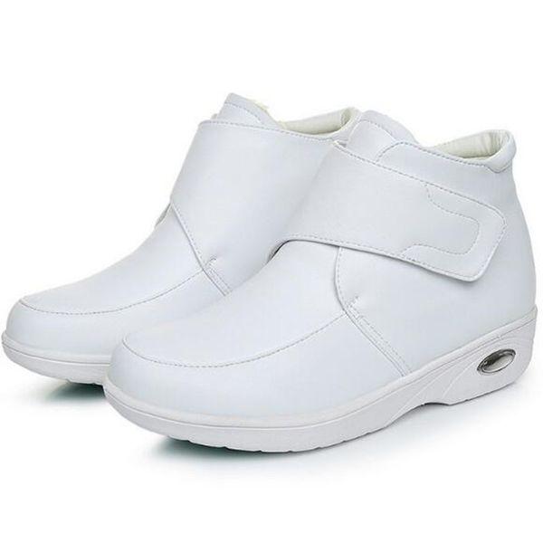 Toptan Perakende Wihite Hemşire Işık Konfor Hava Yastığı Ayakkabı Kadın Çizmeler 2018 Kış Moda Rahat Ayakkabılar sneakers Hakiki Deri Çizmeler