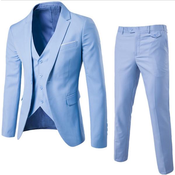2017 Mens Suits 3 pieces Fashion 9 Colors Groom Wedding Suits for Men Slim Formal Male suit Business plus size 6XL Black
