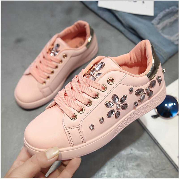 2018 Fashion Sneakers Women Flat Heel Rhinestone Casual Shoes Soft Women s  Sneakers Ladies Brand Shoes Pink eb6972332d09