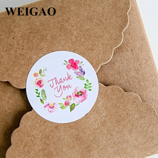 WEIGAO 100pcs Thank You Round Self-Adhesive Sealing Sticker DIY Gift Packaging Candy Bag Sticker Labels Decoration Party Favor