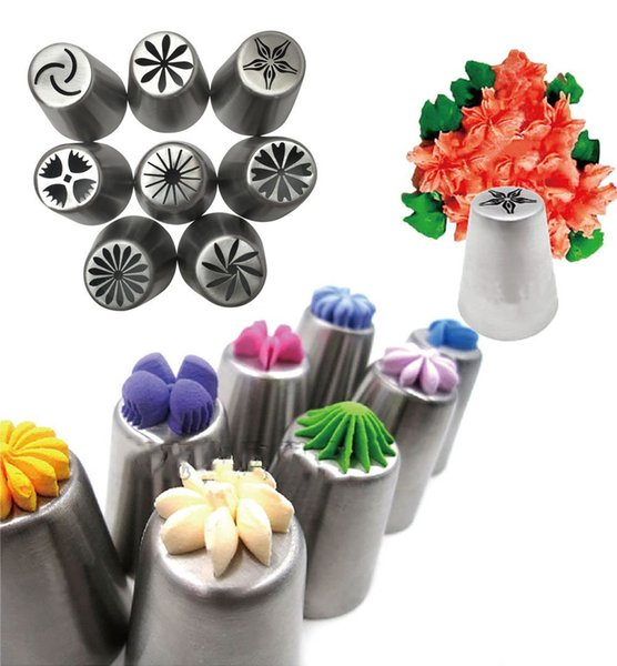 Sunny 8Pcs/set Russian Tulip Tips Stainless Steel Icing Piping Nozzles Pastry Decorating Tips Cake Cupcake Decorator icing dispenser