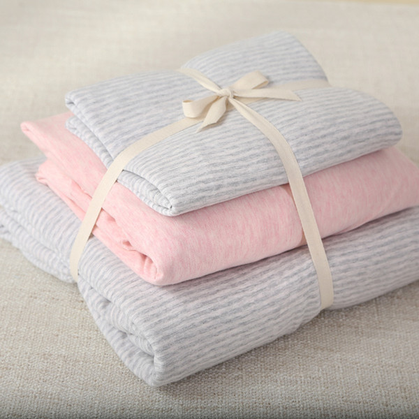 47a5ef449 100% Cotton Super soft jersey knitted bedding set with light grey stripe  duvet cover and