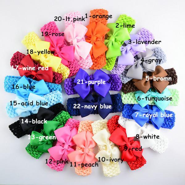 22pcs/Lot Hair Bow Headband Diy Grosgrain Ribbon Bow Elastic Hair Bands Girls Hair Accessories F107