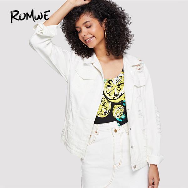 ROMWE Womens Button up Casual Crop Boyfriend Denim Jean Jacket