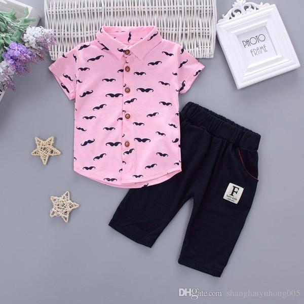Summer Baby Boys Girls Clothing Sets Kids Clothes T-shirt Short 2PCS/Set Cartoon Moustache Children Sport Suits Infant Tracksuit