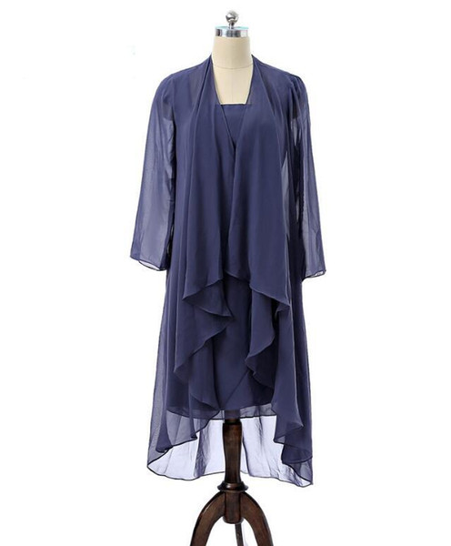 Real Photo Short Navy Mother of the Bride Dress with Jacket Cap Sleeve Knee Length Chiffon Women Formal Gowns Custom Size