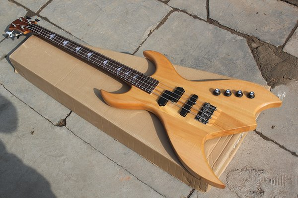 Factory Custom Natural Wood Color Electric Bass Guitar with 4 Strings ,active pickups,Neck-through Body,can be Customized