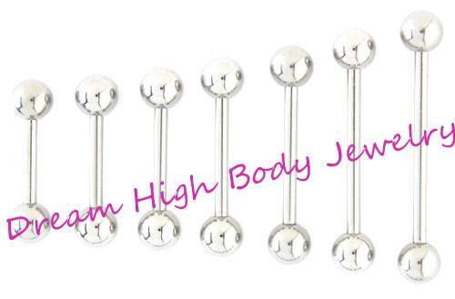 Straight Barbell Tongue Bar Tongue Ring Nipple Piercing Eyebrow Tregus 1 .2mm 1 .6mm 6mm 22mm Length Ear Stud Fancy Body Jewelry