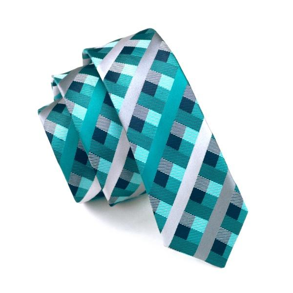 fashion slim tie green teal dimgray plaid skinny narrow gravata silk jacquard woven neck ties for men 6cm width casual e-058, Black;blue