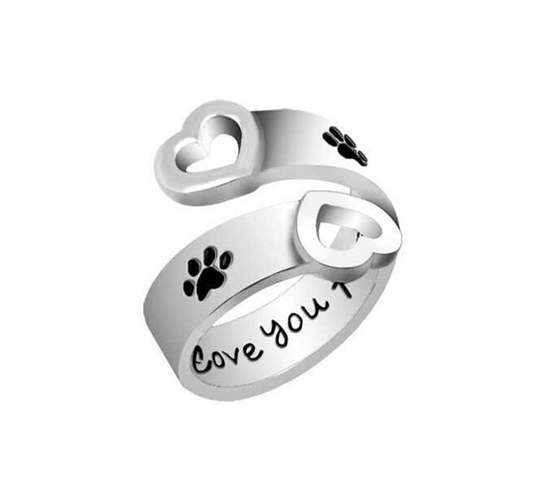 Dog Paw Print I will love you forever Heart Love Ring Adjustable Finger rings for Women Best Friend Pet Jewelry MOQ 120 pcs