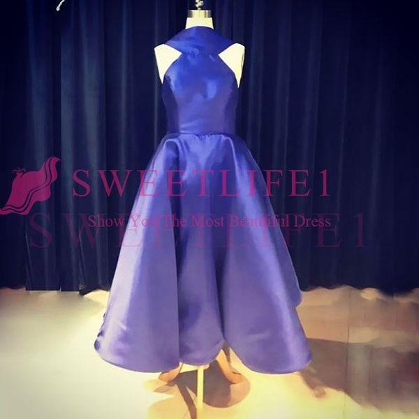2019 New Royal Blue Halter Neck Prom Dresses Back Cover Bow Tea Length A Line Formal Occasion Evening Gowmn Custom Made Hot Sale