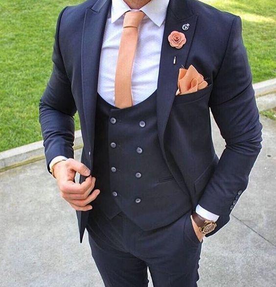 Hot Sale Slim Fit Center Vent Navy Blue Groom Tuxedos High Quality Man Wedding Suit Men Business Dinner Prom Blazer(Jacket+Pants+Tie+Vest)52