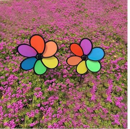 Hot Selling Colorful Rainbow Dazy Flower Spinner Wind Windmill Garden Yard Outdoor Decor JUN-5A