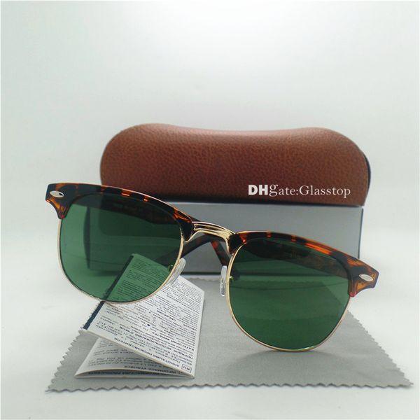 High Quality G15 Glass Lens Fashion Men Women Leopard Frame Sunglasses 51MM Vintage UV400 Circle Mirror Round Semi-Rimless Wholesale Case
