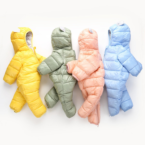 2018 Otoño Invierno mono lindo bebé recién nacido traje de neopreno niño caliente mameluco abajo chica de algodón ropa mono chaqueta con capucha chaqueta niños A-697