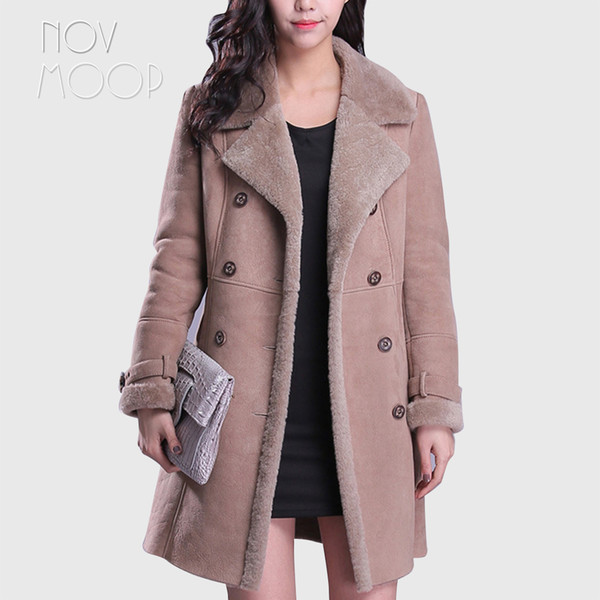 Winter warm women camel genuine leather real lambskin suede leather shearling jackets coats weighted lambswool outwear LT2423