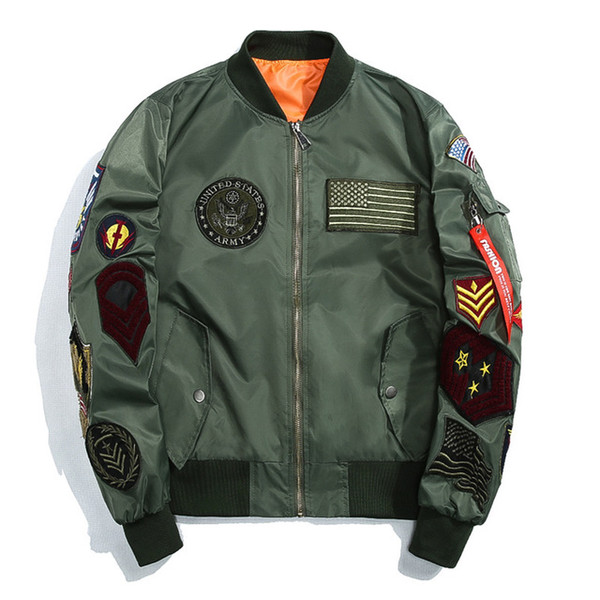 New Spring US MA-1 Bomber Jackets Korean Mens Slim Baseball Coat with Patches Army Windbreaker Jackets
