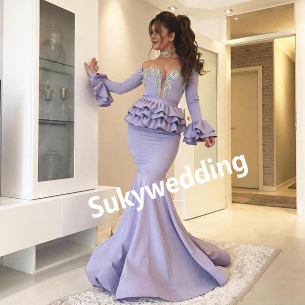 Lavender Mermaid Evening Dresses with Beads Sequins Long Sleeves Sheer Neck Peplum Tired Arabic Dubai Prom Dress Satin Pageant Gowns