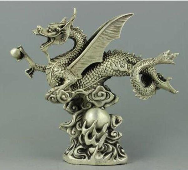 Raros colecionáveis Tibet Silver Dragon Statue